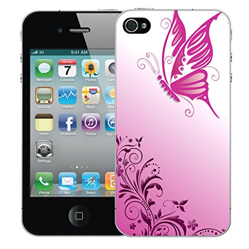 Mobile Case Mate iPhone 4s Silicone Coque couverture case cover Pare-chocs + STYLET - Gliding Butterfly pattern (SILICON)