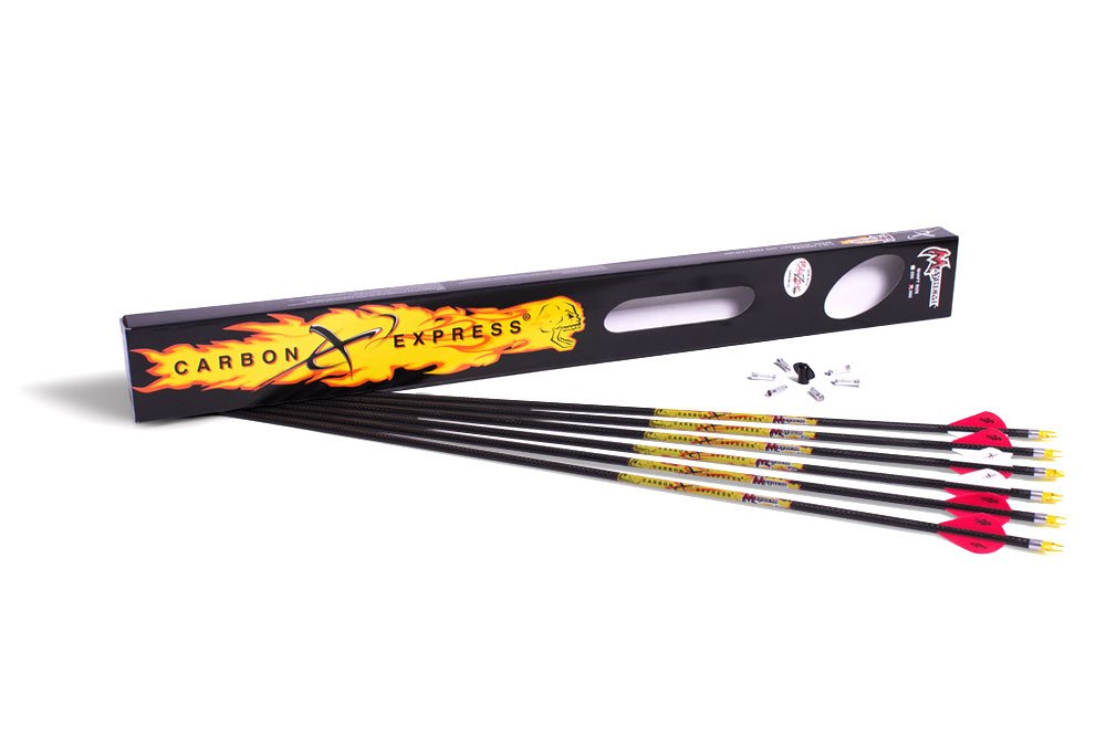 Carbon Express Mayhem Fletched Carbon Arrows with Blazer Vanes, Size 350, 6-Pack