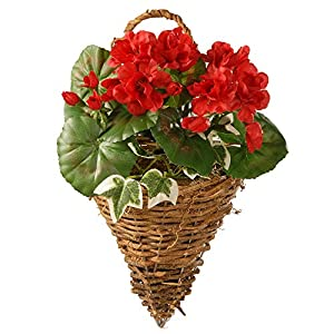 CC Christmas Decor Red Geranium and Ivy Wall Basket - 11 Inch 120
