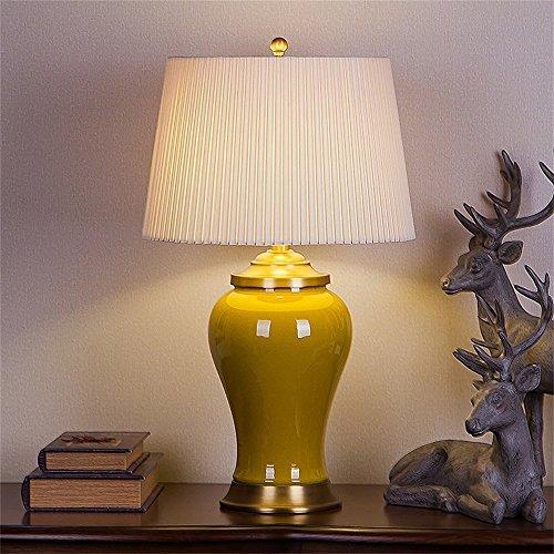 MOMO Schreibtischlampe chinesischen Keramik Tischlampe Wohnzimmer Studie Schlafzimmer Nachttischlampe,Gelb (Schwarze Und Gelbe Gläser)