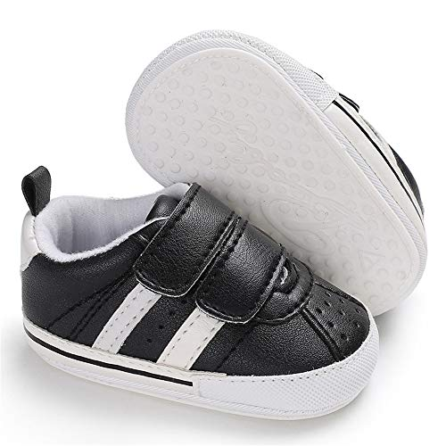 Meckior Fashion Baby Sneakers Infant Baby Boys Girls Soft Sole Prewalker Crib Casual Shoes (5.12inches(12-18months), A-Black)