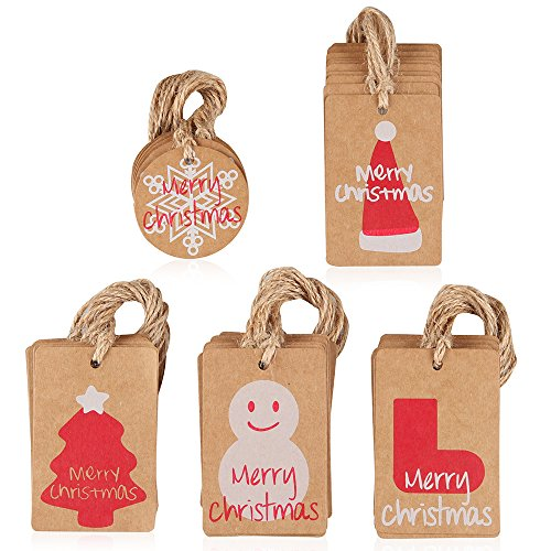 Coogam 50 Pack Brown Kraft Paper Christmas Gift Tags with Twine String Tie on Smooth for Writing - 5 Designs for DIY Xmas Holiday Present Wrap Stamp and Label Package Name Card