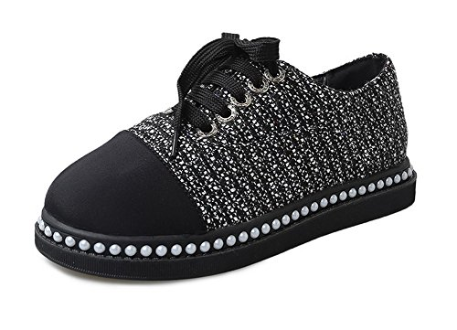 AllhqFashion Womens Lace-Up Fabric Assorted Color Kitten-Heels Pumps-Shoes Black Zv5KblQpi7