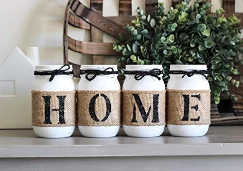 (Rustic HOME Table Decor, Housewarming Gift Idea, Decorative Mason Jars Set, Farmhouse style)
