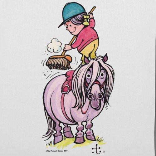 Spreadshirt Thelwell Reiter Striegelt Pferd Mit Besen Stoffbeutel Weiß