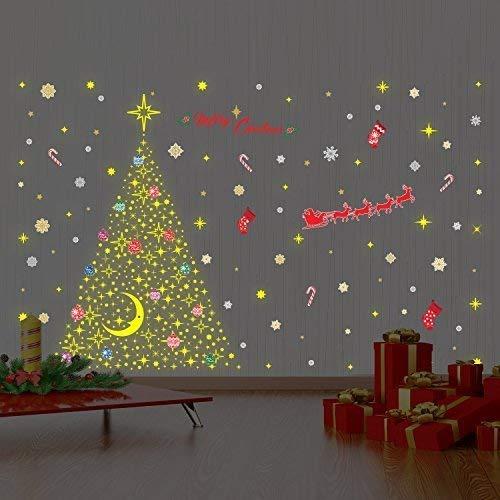 h/ôtel d/écoration de Bureau /école Restaurant Wallflexi Stickers muraux d/écorations de No/ël /« Magical Glow in Dark Stars Christmas Tree Set /» pour Salon Multicolore Chambre denfant caf/é