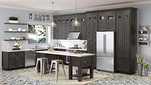 Shaker Cinder Stained Cabinet Solid Wood Construction Wall Cabinet Two Door for Kitchen Bath or Laundry (W3330 Wall Cabinets)