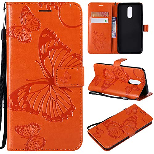 (Cmeka Emboss Butterfly Wallet Case for LG Stylo 4,Wrist Strap,Flip PU Leather Magnetic Closure,Card Slots,Kickstand Function (Orange))
