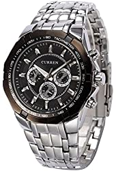 Curren White Case Stainless Steel Band Men Analog Wrist Watch (Black)