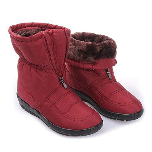 30%OFF GIY Women Fashion Mid-Calf Fur Lining Snow Boots Platform Waterproof Warm Winter Bootie Slipper Shoes