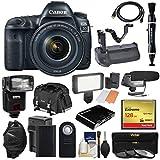 Canon EOS 5D Mark IV 4K Wi-Fi Digital SLR Camera & 24-105mm f/4L is II USM Lens + 128GB CF Card + Battery & Charger + Grip + Case + Flash + LED Light + Mic Kit