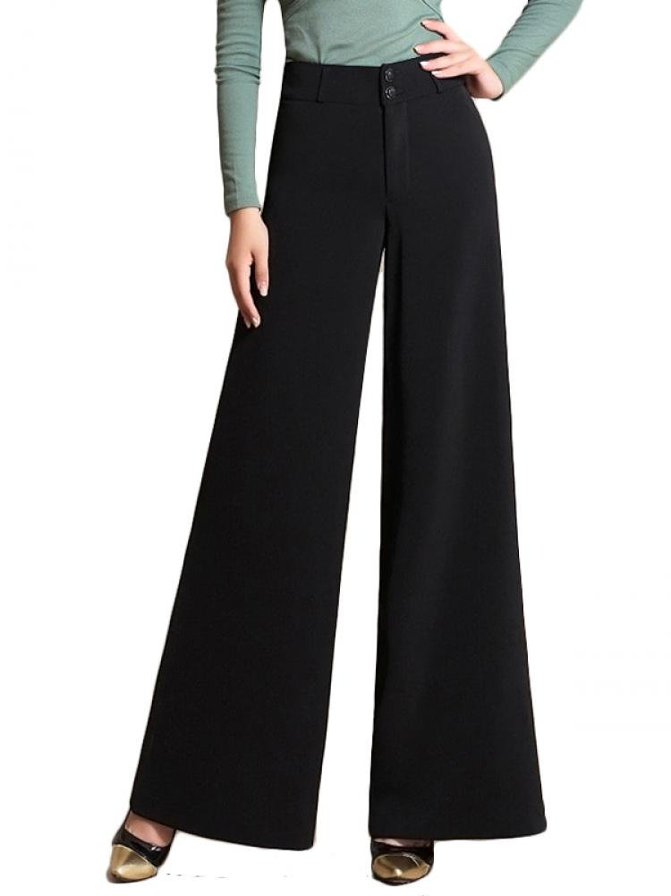 Enlishop Women High Waist Wide Leg Oversized Long Palazzo Pants Trouser Black by Enlishop (Image #1)