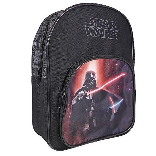 Mochila para niño Star Wars - Bolso escolar con bolsillo frontal con estampado Darth Vader - Bolsa para la escuela y la guarderia con tirantes acolchados - Negro - 30x22x8 cm - Perletti