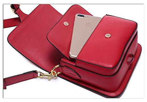 Red en cuir Bag à main à Crossbody Bag Sac bandoulière Vintage Messenger Saddle Tote Designer Satchel femmes Sacs Sacs Mesdames véritable pour Femme wqnBEFttx