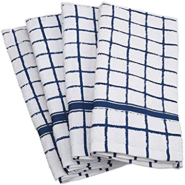 DII 100% Cotton, Machine Washable, Basic Everyday, Terry, Kitchen Dishtowel, Ultra Absorbant, Windowpane Design, 16 x 26  Set of 4- Nautical Blue