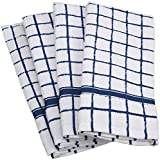 DII Cotton Terry Windowpane Dish Towels, 16 x 26'' Set of 4, Machine Washable and Ultra Absorbent Kitchen Bar Towels-Nautical Blue