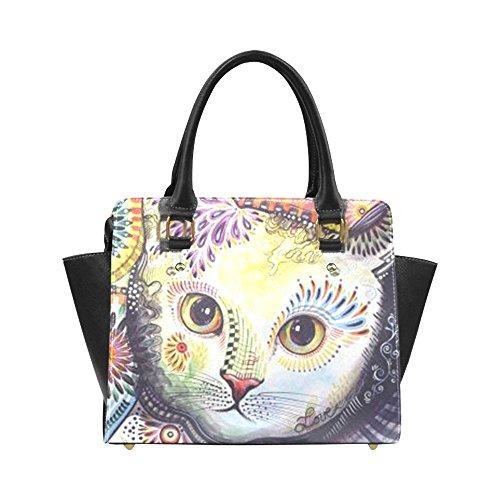 Angelinana Adorable Painting Kitty Cat Custom Handbag Fashion Shoulder Bag PU leather Women's Handbags
