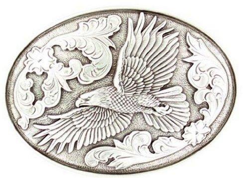 Nocona Men's Flying Eagle Belt Buckle, Silver, OS