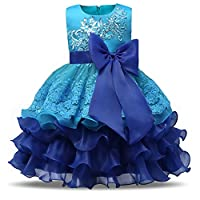 NNJXD Girl Ruffles Vintage Embroidered Sequins Flower Wedding Dress
