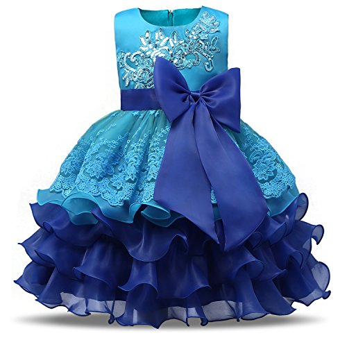 Beautiful Lace Vintage (NNJXD Girl Ruffles Vintage Embroidered Sequins Flower Wedding Dress Size (120) 4-5 Years Blue)