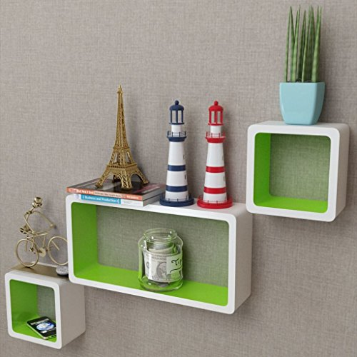 - Festnight Set of 3 Floating Shelves White-Green MDF Floating Wall Display Shelf Cubes Book DVD Storage Home Decor Bookshelf Furniture (Green White)