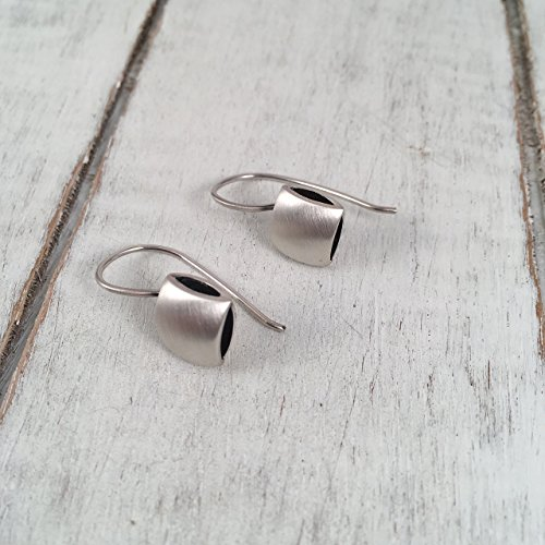 Sterling Silver Cushion Shape Hook Drop Earrings, Satin and Polished finished sides, Dark Oxidized Interior, Handmade in Peru by Claudia Lira. Great f…