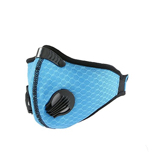 Dukars Sports Mask, Dustproof Mask Activated Carbon Filtration Exhaust Gas Anti Pollen Allergy PM2.5 Workout Running Motorcycle Cycling Mask (Blue)