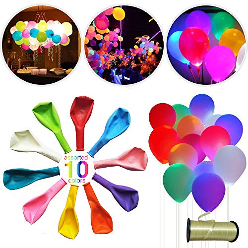 GOFLY LED Light Up Balloons – Mixed Colors – Premium Party Lights – Perfect for Parties Birthday Wedding Anniversary Valentines Home Decorations - Inflate with Air and/or Helium - 50 Pack ()