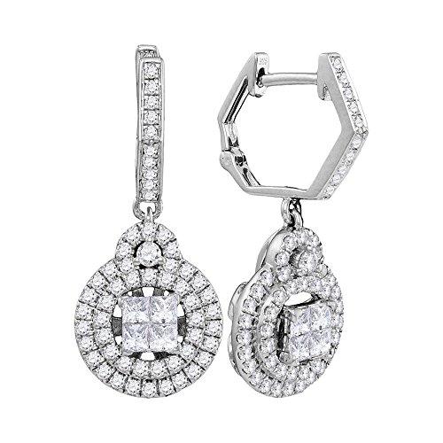 14kt White Gold Womens Princess Diamond Double Circle Frame Dangle Earrings 1.00 (Double Circle Diamond Earrings)