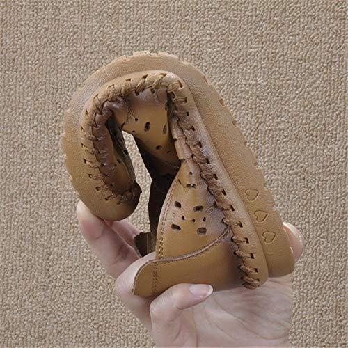 cómodos la a cómodos Zapatos de Retros los EU Mano UE Las de FLYRCX de Cuero Zapatos Mujeres Cuero de Hechos Planos Zapatos Planos Los 41 Parte Inferior de Calzan 37 los xqYnxtaw6