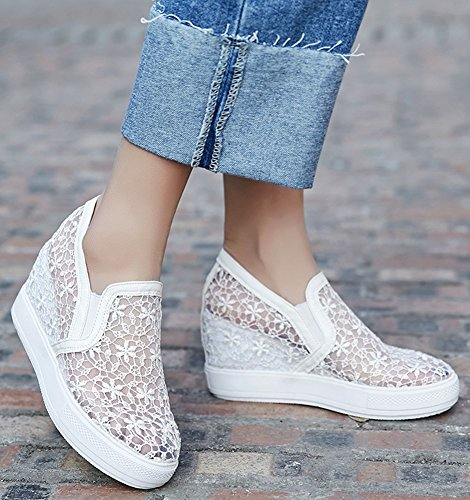 Idifu Donna Moda Pull On Tacco Alto Zeppa Tacco Basso Sneakers Chic Bianco