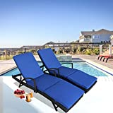 Patio Furniture PE Rattan Black Recliners Garden Chaise Lounge Set of 2 Outdoor Lounger w/Armrest Royal Blue Cushion