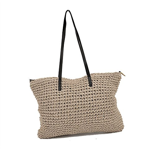 r Women Large Beach Tote with Zipper Mesh Bag (Beige) (Grass Woven Tote)