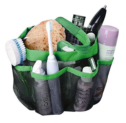 attmu mesh shower caddy, quick dry shower tote bag oxford hanging toiletry and bath organizer with 8 storage compartments for shampoo, conditioner, soap and other bathroom accessories, green