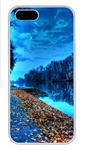 Apple iPhone 5S Case and Cover - Lake leaves Custom Polycarbonate Case Cover Compatible with iPhone 5S and iPhone 5 - White