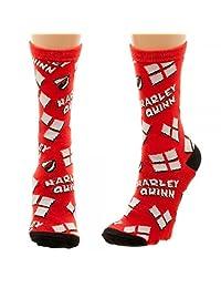Harley Quinn Heart Logo Tossed Print Junior Crew Socks