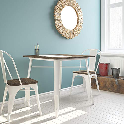 DHP Fusion Metal Square Dining Table with Wood Table Top, Distressed Metal Finish for Industrial Appeal, White