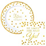 Love Premium Gold Dot Party Supply Pack! Bundle Includes Premium Plastic Plates & Napkins for 10 Guests