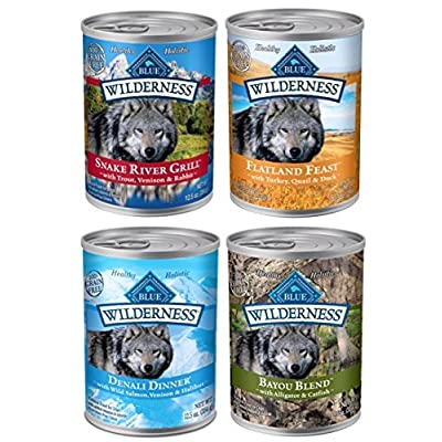 Blue Buffalo Wilderness Grain Free Wet Adult Dog Food Variety Pack, 4 Flavors, 12 Total cans - 12.5-Ounces Each