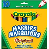 Crayola 10 Broad Line Markers Original, School and Craft Supplies, Drawing Gift for Boys and Girls, Kids, Teens Ages  5, 6,7, 8 and Up, Holiday Toys, Stocking Stuffers, Arts and Crafts