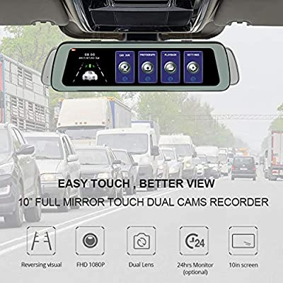 ShiZhen 10 inch IPS Touch Screen Universal Bundled Car DVR Dash Cam Rear View Reversing Mirror with Night Vision Loop Video Recording Motion Detection G-Sensor Front and Rear Dual Lens FHD 1080P