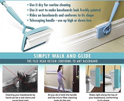 (FidgetFidget Baseboard Buddy Cleaning Mop Simply Walk &Glide Extendable Microfiber Dust Brush)