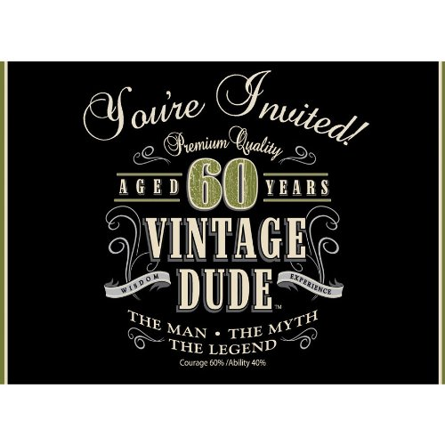 8-Count Party Invitations, Vintage Dude 60th Birthday]()