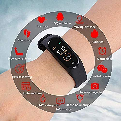 SClout M4 Smart Band Waterproof Fitness Tracker Watch - Steps & Calories Tracker, BP, HR OLED Touchscreen for Men & Women Compatible with Android & iOS Devices (Black)