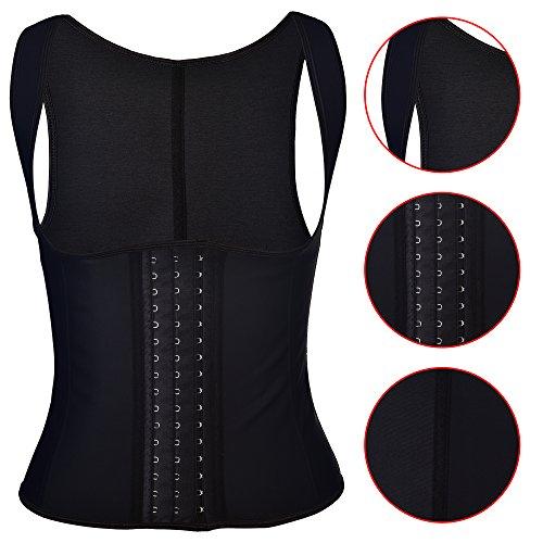 Aibrou Fajas Mujer,Excelente Posparto Corsé Chaleco para Proteger la Cintura, 3 Filas Ganchos Ajustable, Efectiva Shapewear Underbust Cintura Cincher Negro