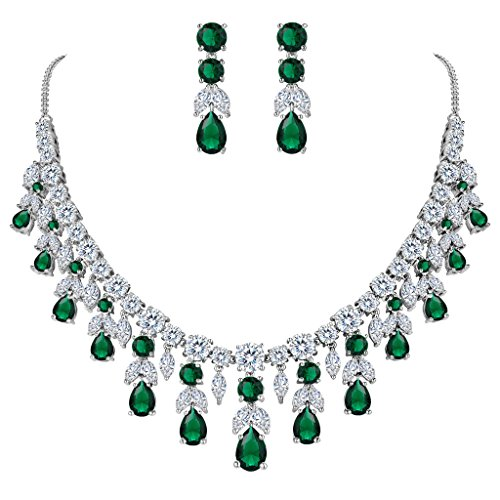 Emerald Green Costume Jewelry Sets (BriLove Women's Wedding Bridal CZ Cluster Leaf Teardrop Statement Necklace Dangle Earrings Set Emerald Color Silver-Tone)