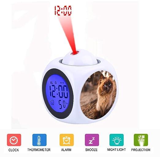 FDC - Reloj Despertador Digital con Pantalla LCD y proyector LED ...