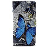 Ivy Soft TPU Synthetic Leather Flip Wallet Case with Built-in Kickstand and Card Slot for Galaxy Grand Prime G530H/DS - Blue Butterfly