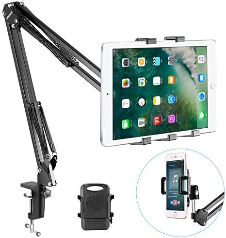 Neewer Universal Smartphone & Tablet Stand (Padded Holder, Adjustable Mounting Clamp) Compatible with iPhone11/11 Pro/11 Pro Max Samsung Galaxy S10+10, iPad Air/iPad Air 2, Samsung Galaxy Tab as well as More
