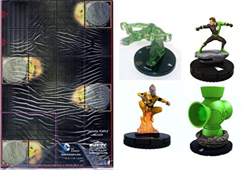 Heroclix DC War of Light Complete Month 1 Op Kit (One Each of the #R100 Power Battery, #109 Larfleeze, #103 Rond Vidar, #R100.05 Crossbow (Green) Construct and Okaara Temple Indoor - Dc Heroclix Map